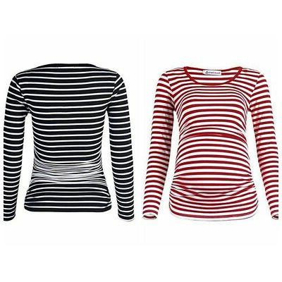 maternity nursing striped tops pregnant women long