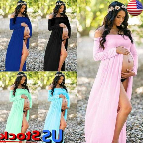 maternity pregnancy gown photography off shoulder maxi