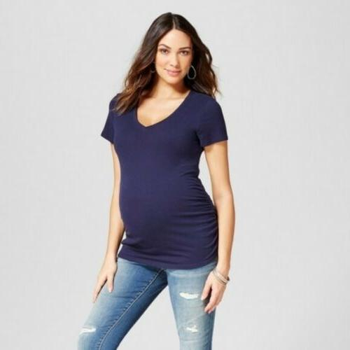 Maternity Side Shirred V-Neck T-Shirt Isabel Maternity by