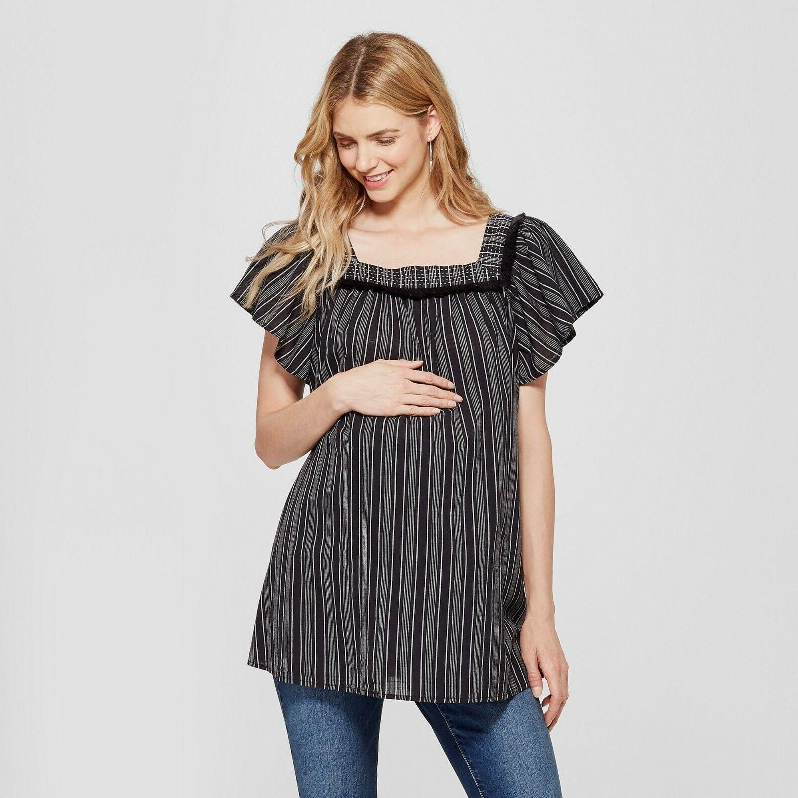 maternity striped short sleeve square neck woven