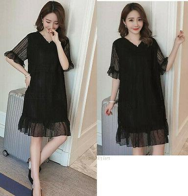 Maternity Summer Casual Short Sleeve Lace