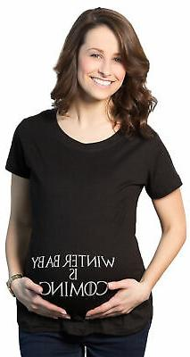 Maternity Winter Baby Is Coming T shirt Geeky Novelty Pregna
