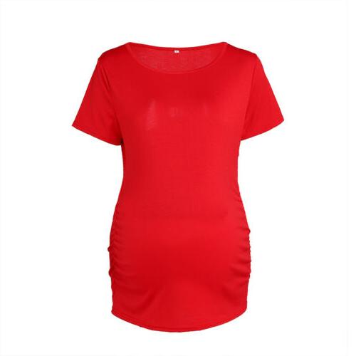 Women Maternity Short Sleeve Pregnancy Tops Blouse Tee US