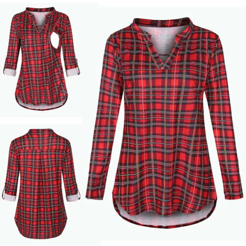 Maternity Long Plaid Print Pregnancy