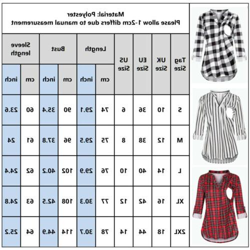 Maternity Sleeve Plaid Breast-feeding US
