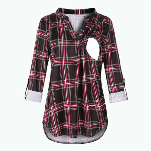 Maternity Long Sleeve Plaid Print Tops Breast-feeding US