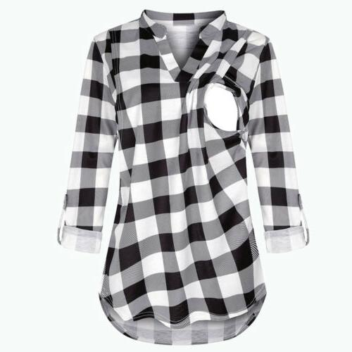 Maternity Women Plaid Breast-feeding T-Shirt