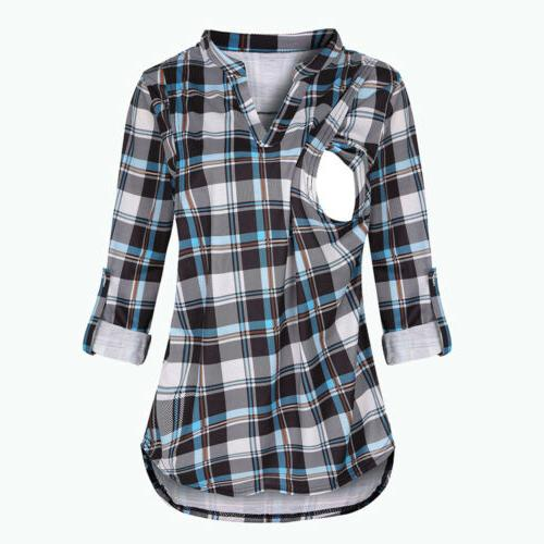 Maternity Women Long Sleeve Plaid Print Tops Breast-feeding T-Shirt