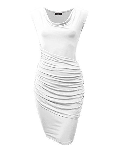 mbj cowl neck sleeveless pleats