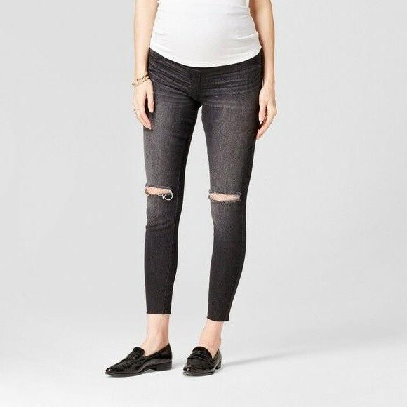 new isabel maternity crossover panel distressed jegging