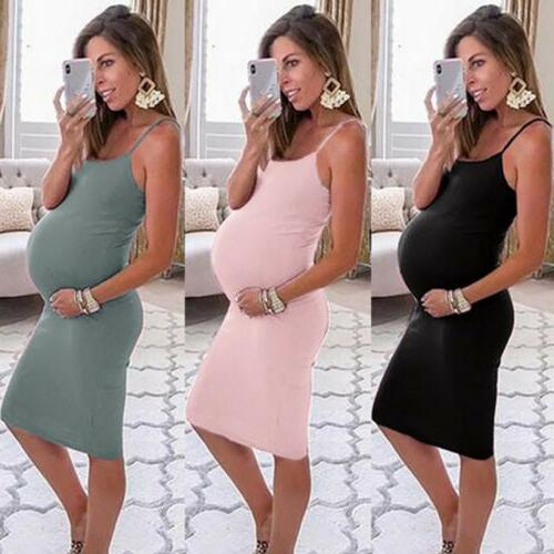 new womens casual solid pregnant summer sleeveless