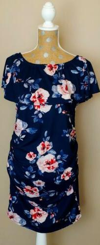 NWT Women's Size Medium Hello Miz Navy Floral Off Shoulder M