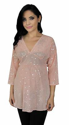 Pastel Pink Sheer Maternity Lace Tunic Long Sleeve Top Detai