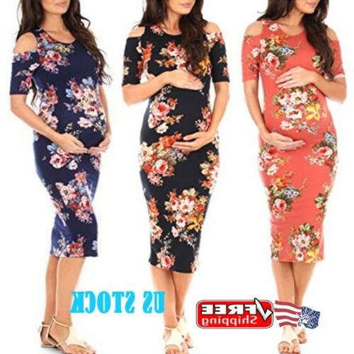 Pregnant Women Maternity Bodycon Dress Floral Party Cut Out