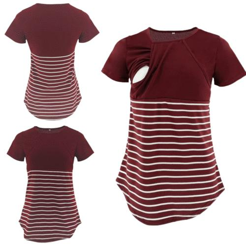 Women Short Sleeve Cotton Maternity Breastfeeding T-shirt Nursing