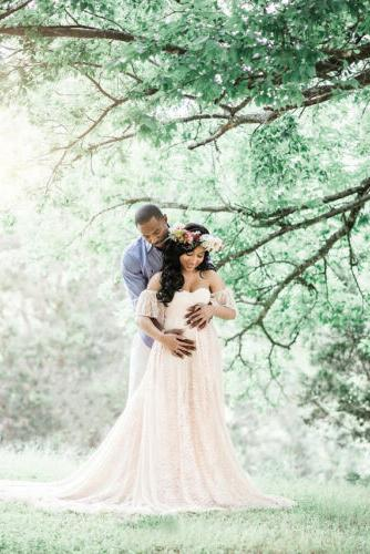 Pregnant Women Off Lace Long Gown Maternity Prop