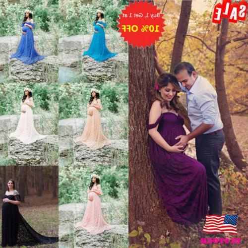 Pregnant Women Off Shoulder Lace Long Maxi Dress Gown Matern
