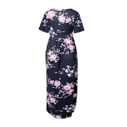 Pregnant Floral Long Dress Short Sleeve For Maternity Mother Clothes USA