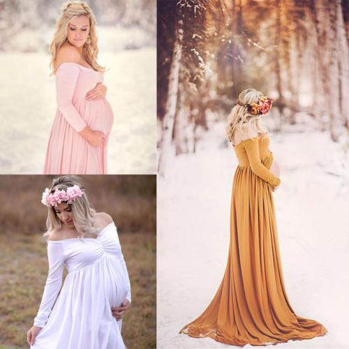 Pregnant Womens Cotton Maternity Clothes Gown Photo Photogra