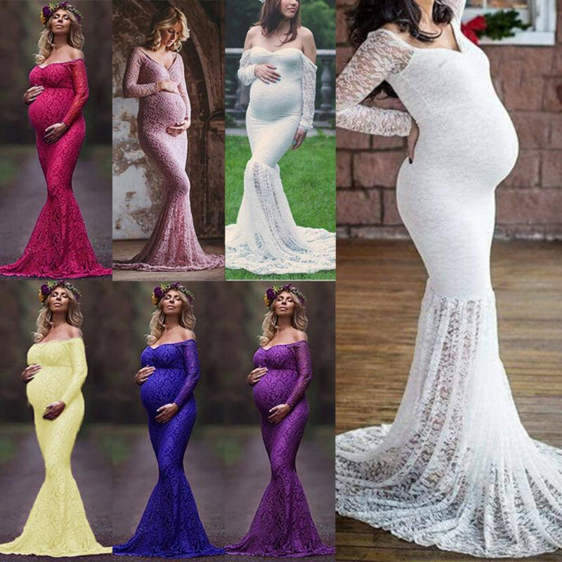 pregnant womens maternity lace dress maxi long