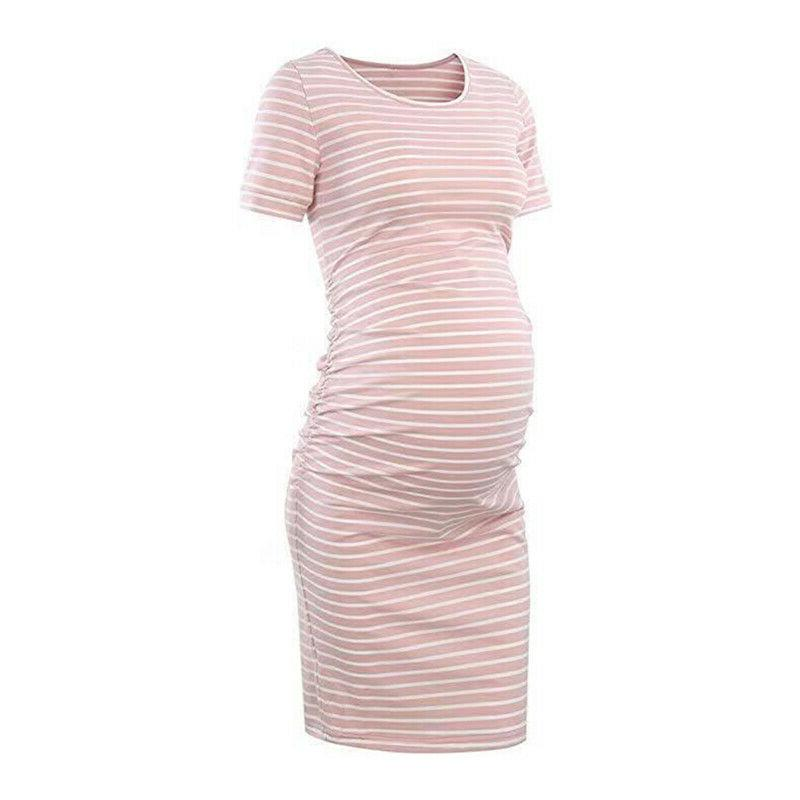 Pregnant Womens Striped Summer Midi Maternity Casual Clothes