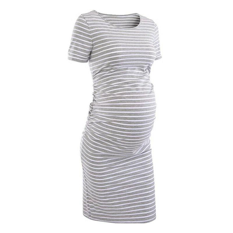 Pregnant Womens Striped Summer Midi Dress Maternity Casual