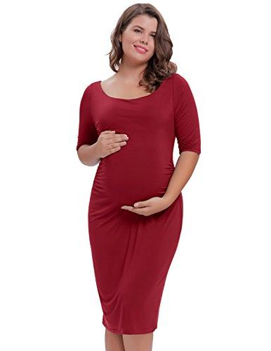 ruched maternity dress half sleeve