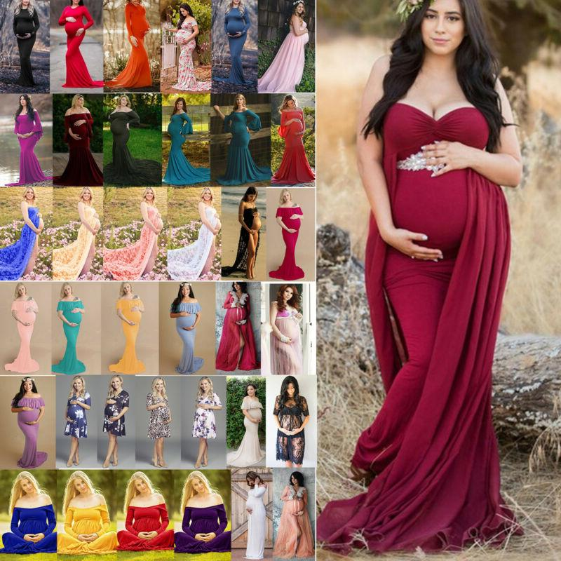Pregnant Women Maternity Gown Maxi Dress Wedding Party Prop