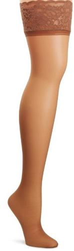 Hanes Silk Reflections Women's Lace Top Thigh High, Barely T