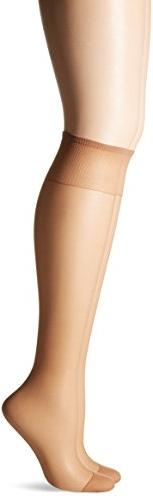 2-Pair Hanes Silk Reflections Silky Sheer Knee Highs with Re