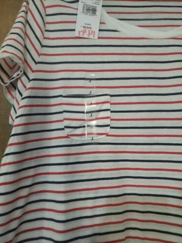 striped red white and blue tee small