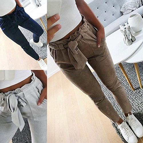 Women High Waist Harem Pants Women Bowtie Elastic