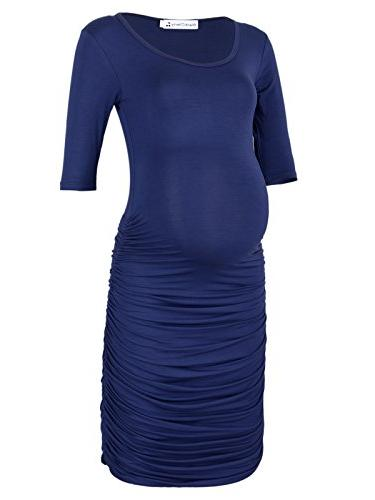 three quarter sleeve ruched maternity