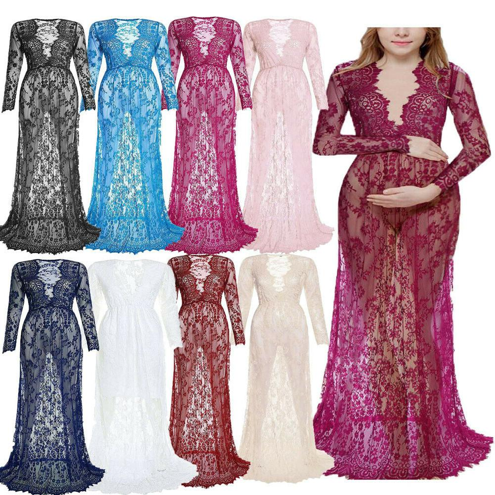 US Pregnant Women Floral Dress Maternity Gown Photography #