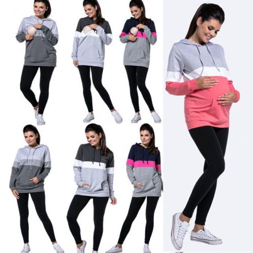 US Maternity Tops Hoodies Women Nursing