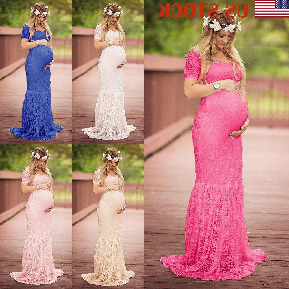 US Women Lace Maternity Dress Maxi Fancy Long Gown Pregnancy