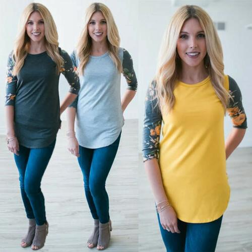 US Women Maternity Clothes Breastfeeding Tops Shirt Half Nursing Blouse