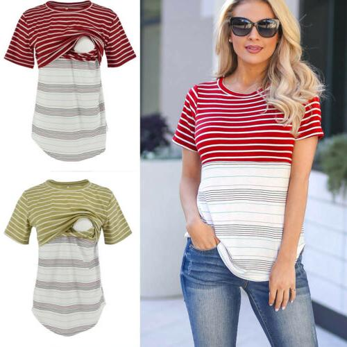USA Women Tee Nursing Striped Short