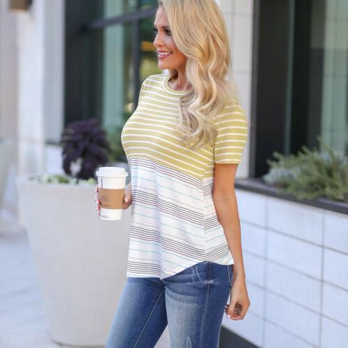 USA Maternity Tee Nursing Striped Short Sleeve T-shirt