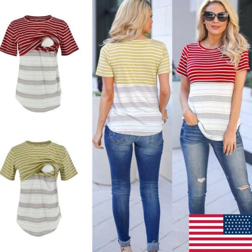 usa women maternity breastfeeding tee nursing tops