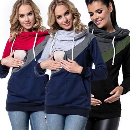Women Maternity Hoodie Breastfeeding Clothes Tops Nursing To