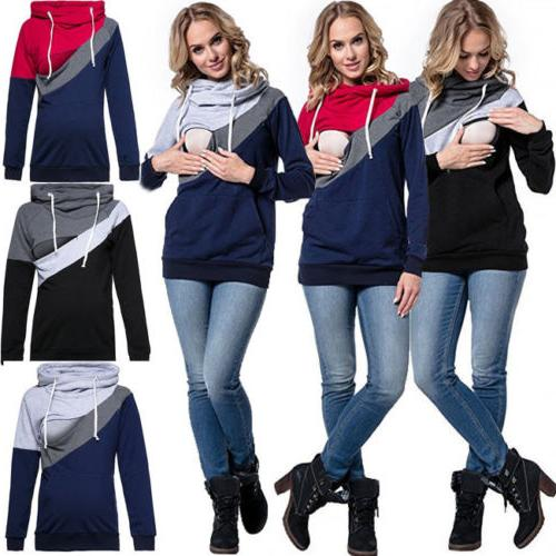 usa women maternity clothes breastfeeding top hoodie