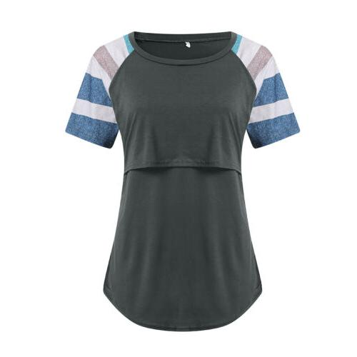 USA Women Clothes Short Sleeve Breastfeeding Tops Nursing
