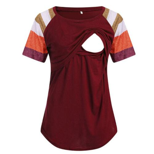 USA Women Maternity Clothes Short Sleeve Nursing T-Shirt