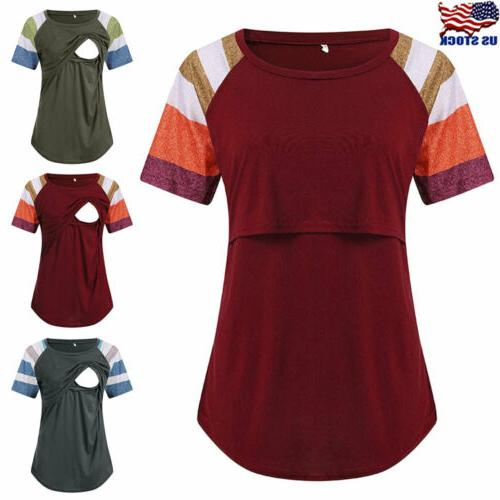 usa women maternity clothes short sleeve breastfeeding