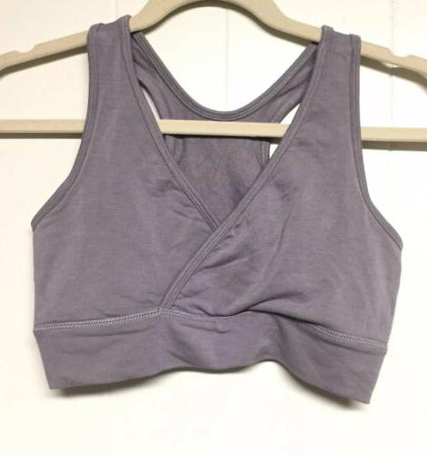 wireless nursing maternity racerback bra grey sz
