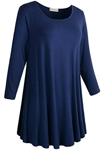 LARACE Women 3/4 Sleeve Tunic Top Loose Flare