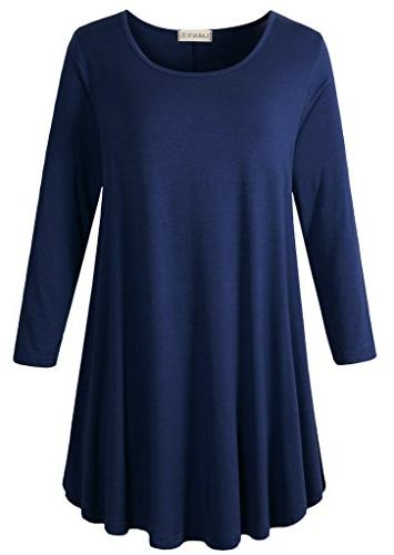women 3 4 sleeve tunic top loose
