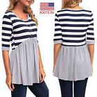 women casual striped printed half sleeve stitching