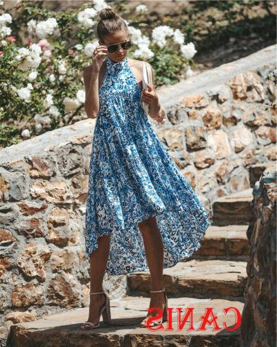 Women Halter Floral Sundress Cocktail